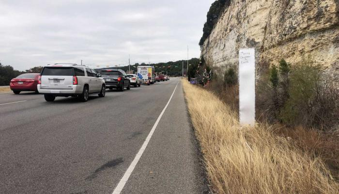 Monolith along 360 Loop near Great Hills Trail (KXAN Photo/Frank Martinez)