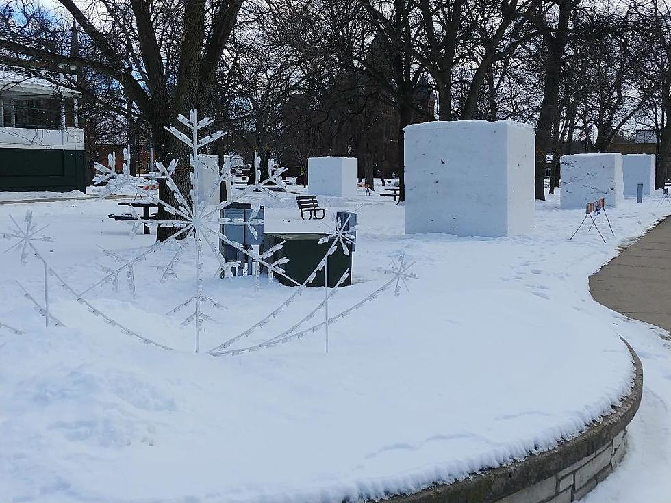 Snow Monoliths at Owatonna Central Park from local radio station websites